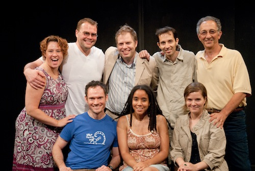 The PlayPenn 2010 Conference Playwrights: Michele Volansky (Associate Artist/Conference Dramaturg), Sam Hunter, Dan Dietz, Nicholas Wardigo, Kara Lee Corthron, James J. Christy, Charlotte Miller, and Paul Meshejian (Artistic Director)