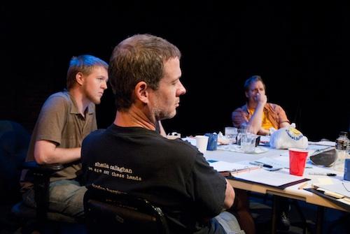 Mark Kennedy (Intern), Kevin Bergen (Van), and Nicholas Wardigo (Playwright)