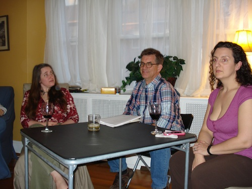 Ellen, Tom, and Caitlin, patiently waiting to reveal everything that's wrong with my play