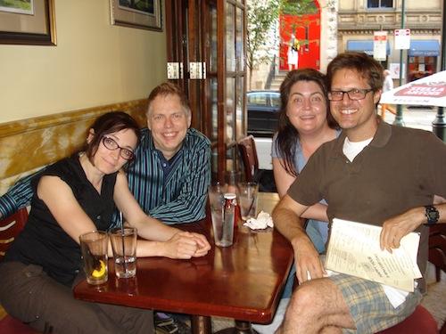 Unsavory characters.  From the left, playwrights Katharine Clark Gray, Nicholas Wardigo, Lindsay Harris-Friel, and Alex Dremman.