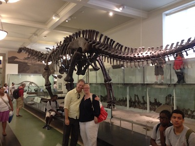 Nick, Aurora, and an apatosaurus.