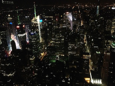 The view from the 86th floor of the Empire State Building, July 31, 2014, around midnight.  Without doubt, the most Blade-Runner-ish photo I have ever taken.