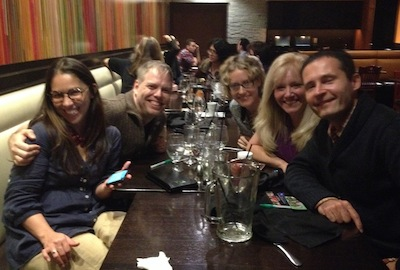 Making new friends at an impromptu after-party, from left: Maribelle, Nick, Kelli, novelist (and panelist) Judi Fennell, and George (AKA Georgio)