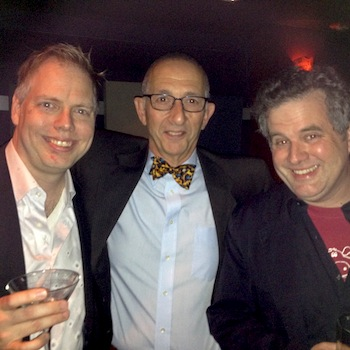 Artistic Director of PlayPenn Paul Meshejian (center), flanked by playwrights Nicholas Wardigo and Eric Pfeffinger