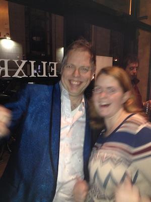 Nick Wardigo and Erin-the-freelance-dramaturg.  Photo blurriness due to Michele Volansky's dubious photo-taking skills.
