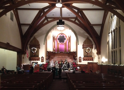 The interior of the West Chester United Methodist Church