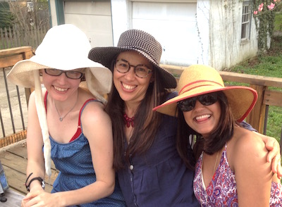 Women in floppy hats: writers Kelly and Maribel, and Georgio's paramour, Cheryl.