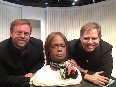 Presenter Bruce Duncan, robot Bina48, and playwright Nicholas Wardigo