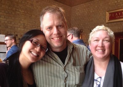 Events and Development Associate Debby Lau, playwright Nicholas Wardigo, and charming spouse Aurora Johansen-Wardigo.