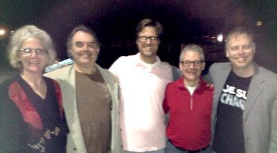 Fans of local theater: Sam Barrett, Mark Knight, Alex Dremman, Darrin Britting, and Nicholas Wardigo.