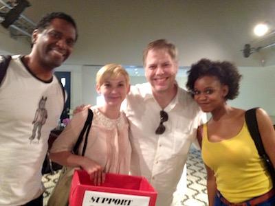 In the lobby of Moon Man Walk: Lindsay Smiling, Mary Tuomanen, Nicholas Wardigo, and Aimé Donna Kelly