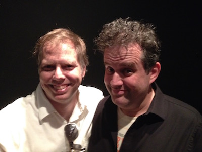 Playwrights Nick Wardigo and Eric Pfeffinger, both with really awful summer hair.