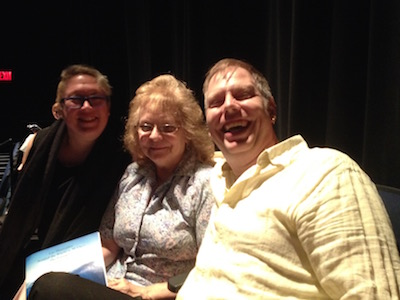 Aurora Johansen-Wardigo, Sally Hutnick, and Nick Wardigo, having way too much fun during an intermission.