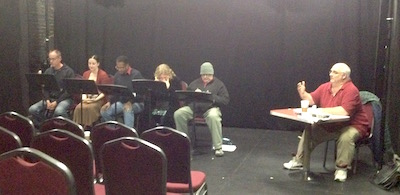 The cast: Ed Miller, Colleen Corcoran, Steven Wright, Gerre Garrett, Mark Knight, and Bill McKinlay on stage directions and general gesticulating.