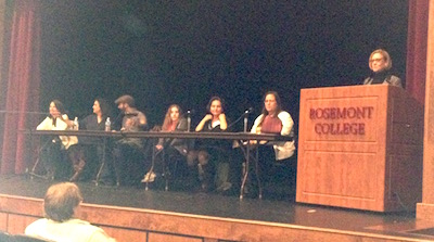 Panel of fear. From the left, literary agents Marie Lamba, Katharine Sands, Eric Smith, Jordy Albert, Gina Panettieri, and Sheree Bykofsky.