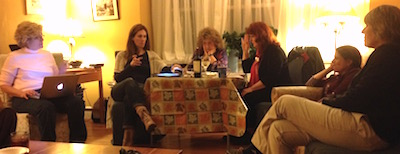 Host Sam Barrett, patiently corralling readers Anelysa  Gove, Joanne Naughton, and Cathy Fallon, and audience members Susan Trigiani and Robin Cashin.