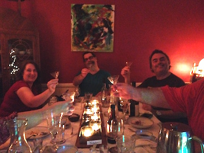 Christmas at the Wardigo household, showing off our newly-purchased martini glasses.