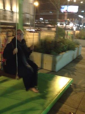 Aurora Johansen-Wardigo, swinging away on Market Street.