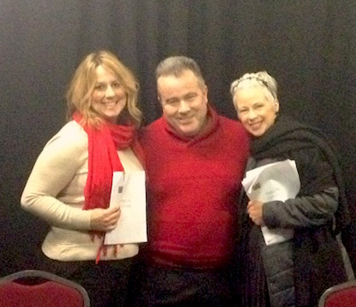 Playwright John O'Hara, between actors Kelly Ann Quirk and Sonja Robson.