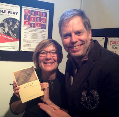 Short story wizard Kathy Anderson with playwright Nick Wardigo.