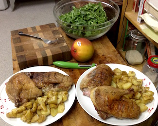 The duck dinner I made, instead of going to a reading.  The fingerling potatoes are cooked in duck fat.  The mango is about to go into the salad.