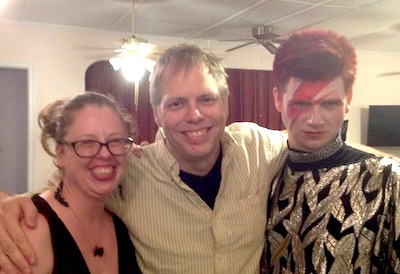 Playwright Nicholas Wardigo between playwright Laura Lee Lenhoff and actor/Ziggy Stardust impersonator Sean Collins.