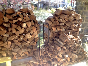This is what half a cord of wood looks like.  In case you were wondering.
